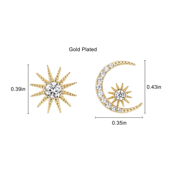 Fashion Gold Star and Moon Asymmetric Stud Earrings