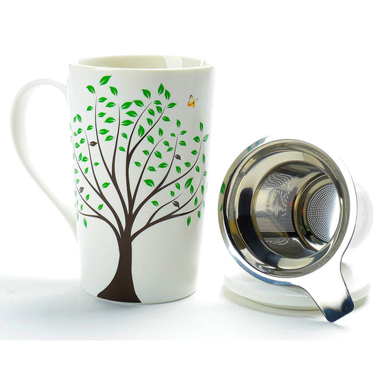 Ceramic Tea Mug with Infuser and Lid (18 oz)