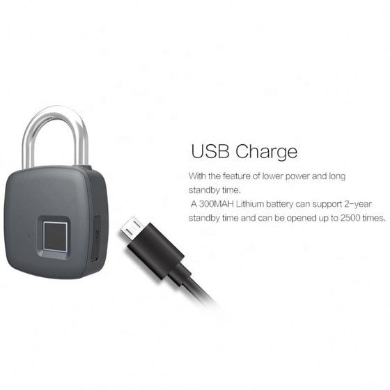 Rechargeable Fingerprint Padlock IP65 P3