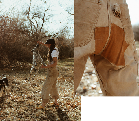 patching on a pair of carhartt overalls