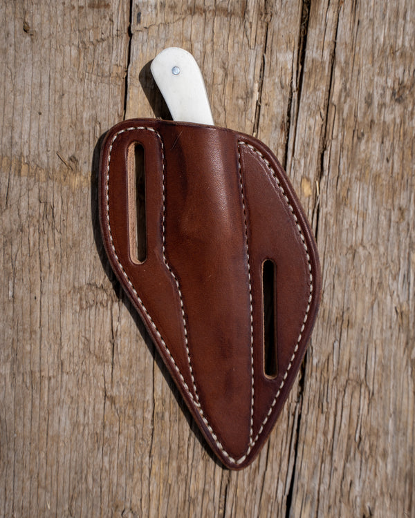 Straight Blade Bone Knife With Brown Pancake Sheath
