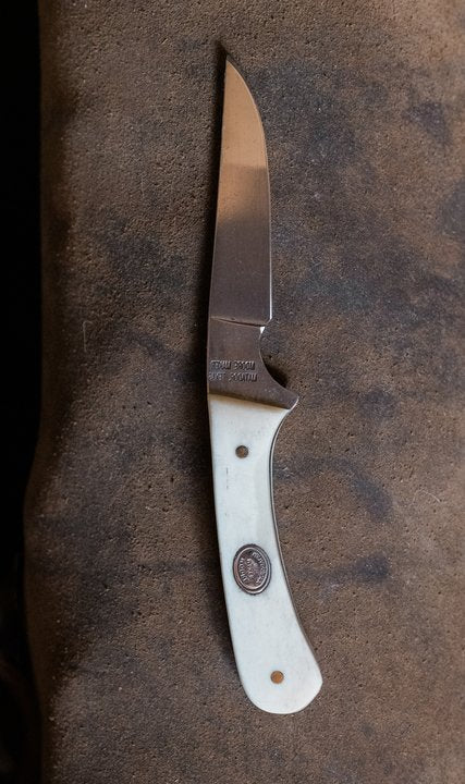 Straight Blade Bone Knife with Slanted Pancake Sheath