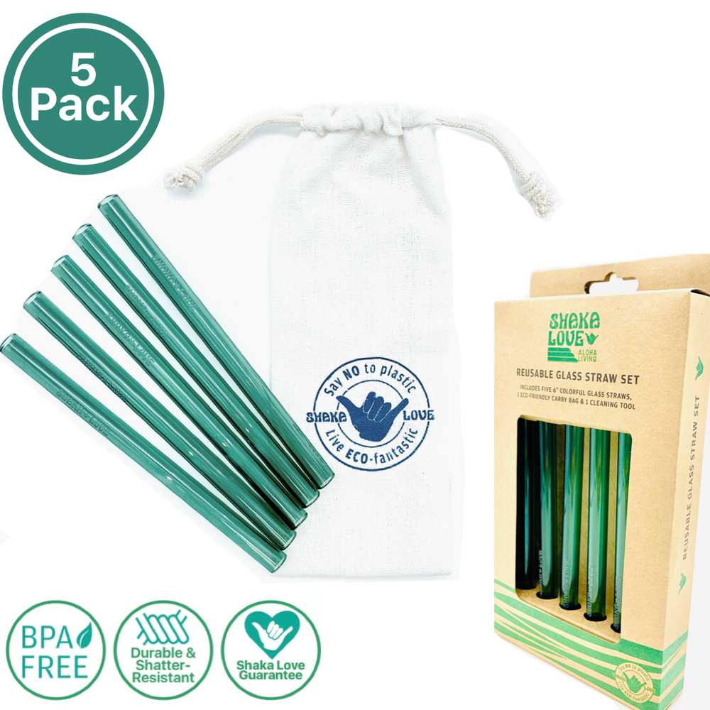 Glass Straw Set - Save the Sea Turtles Green - Includes 5 Beautiful, Colorful, Reusable Glass Straws, Carry Bag, & Cleaner