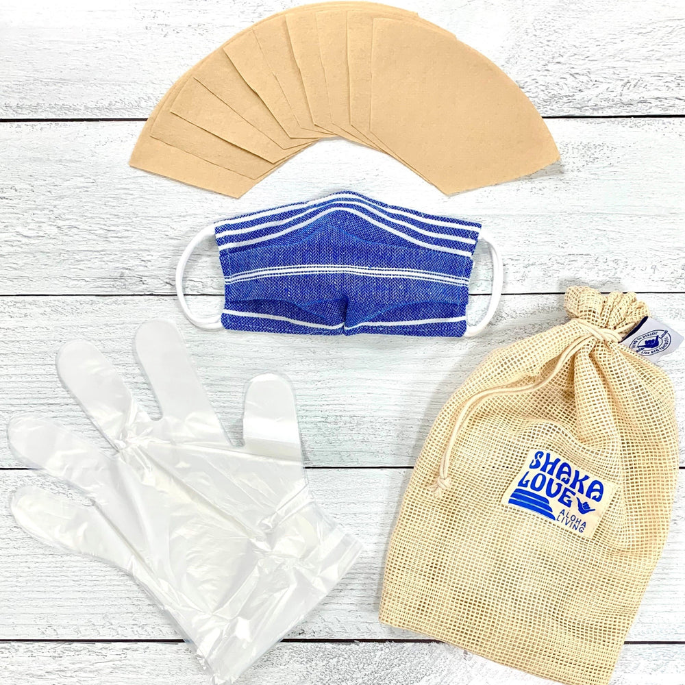 Eco-Friendly Stay Safe Pack: Includes Mask, Eco-Filters, Plastic-Free Gloves, & Organic Garment Washing Bag