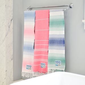 "NEW Shaka Beach Towel - Pink & Blue Striped- 100% Recycled Cotton-Large size 72""x36"" -  Turkish Pestemal"