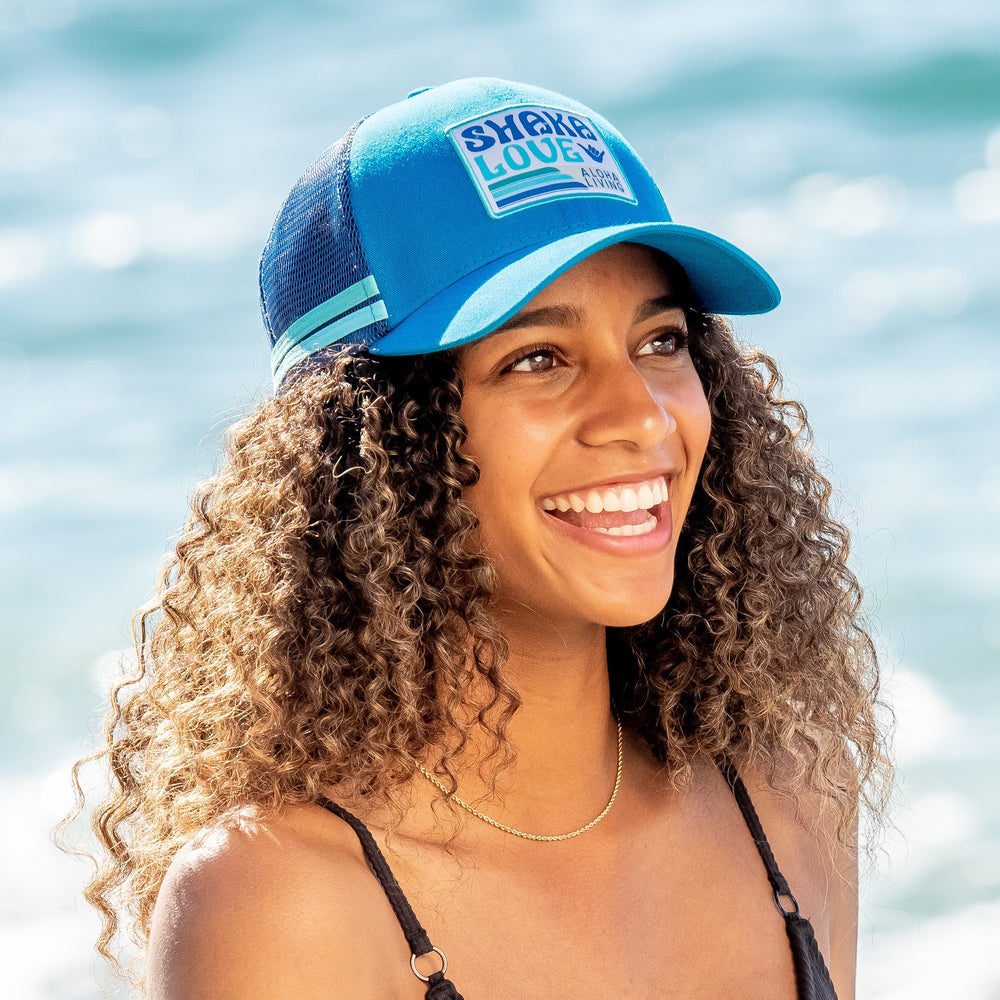 Shaka Love ECO Hat, Ocean Blue with Patch, Organic & Recycled Materials, 100% ECO-friendly