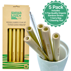 Bamboo Straw Set Includes 5 Beautiful, Reusable Organic Bamboo Straws, Carry Bag, & Cleaner