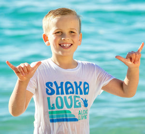 Kids' Shaka T-shirt - Short Sleeve - White or Black -100% Organic Cotton