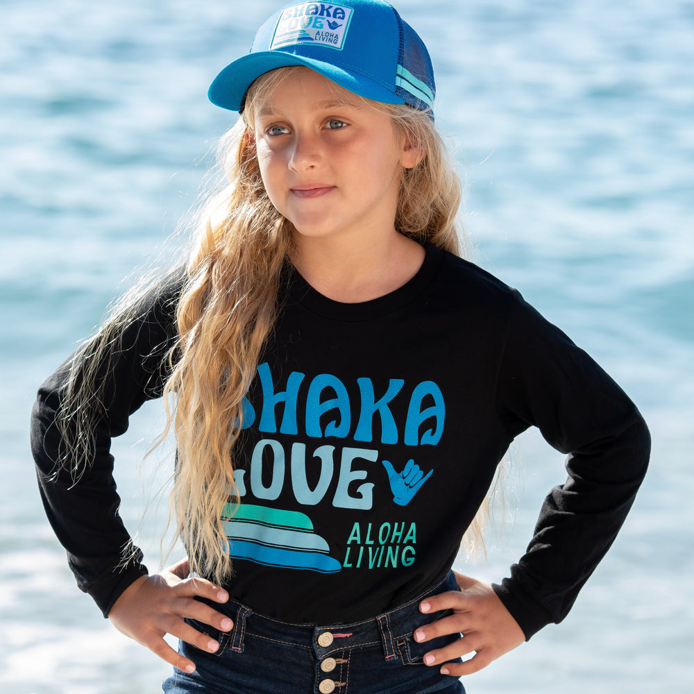 Kids' Shaka T-shirt - Long Sleeve - Black or White, 100% Organic Cotton