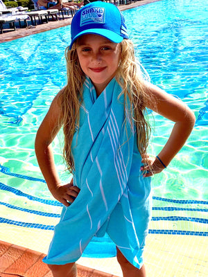 "Shaka Beach Towel - Sky Blue - 100% Recycled Cotton-Large size 72""x36"" -  Turkish Pestemal"