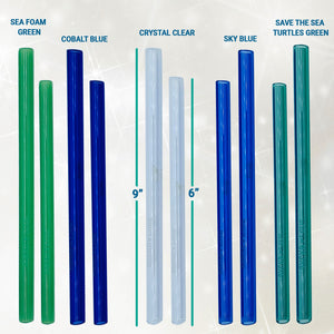 Glass Straw Set - Sky Blue - Includes 5 Beautiful, Colorful, Reusable Glass Straws, Carry Bag, & Cleaner