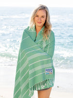 "Shaka Beach Towel - Save the Sea Turtles Green- 100% Recycled Cotton-Large size 72""x36"" - Turkish Pestemal"