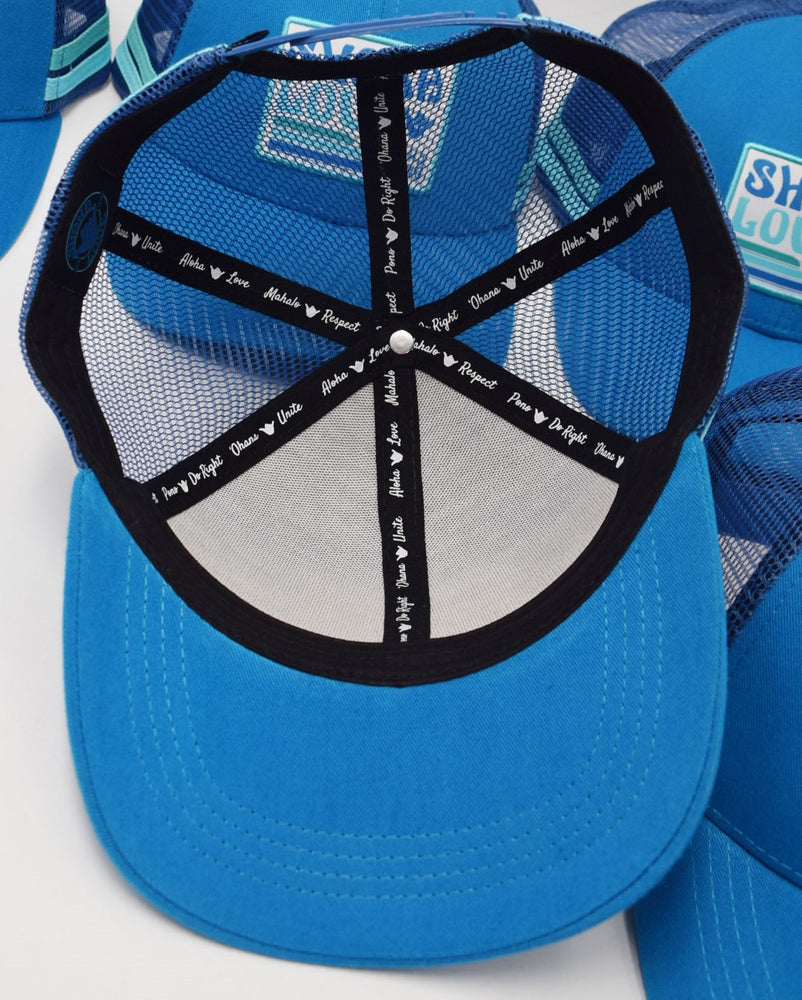 Shaka Love ECO Hat, Bright Ocean Blue with Patch, Organic & Recycled Materials, 100% ECO-friendly