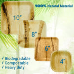 Variety 24 Pack Including 8 large, 8 medium, & 8 small Palm Leaf Square Plates