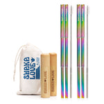 Stainless Steel Reusable Straw Set - Telescopic, Stylish, Rainbow - Bamboo Case & Carry Bag