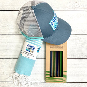 Summer Essentials Package #3: Included Hat, Towel, & Straw Set