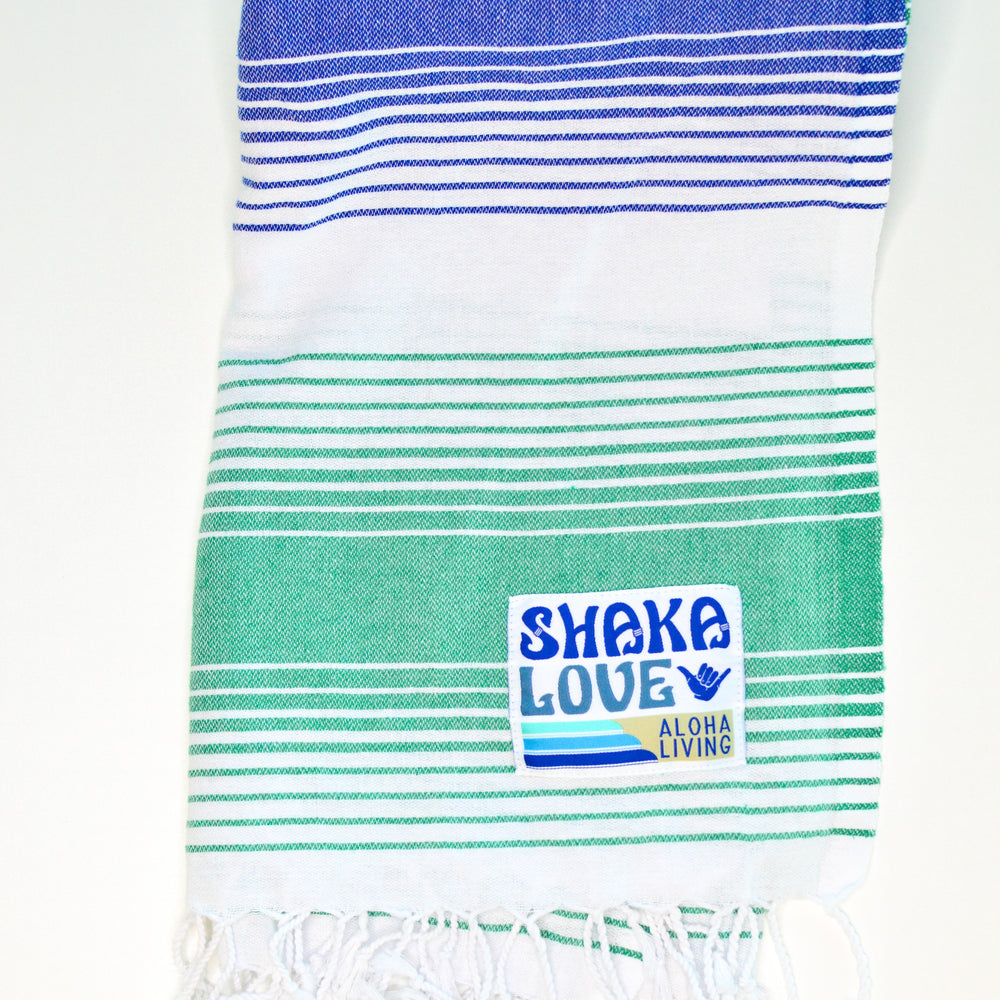 "NEW Shaka Beach Towel - Green & Blue Striped- 100% Recycled Cotton-Large size 72""x36"" -  Turkish Pestemal"