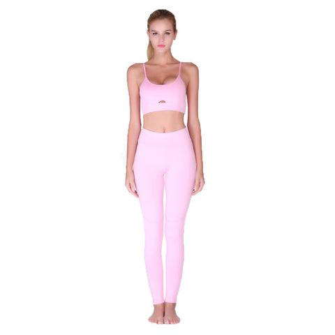 Hot Pink Hollow Women Yoga Sets Elastic  Sport Suit  Wear Sports Bra