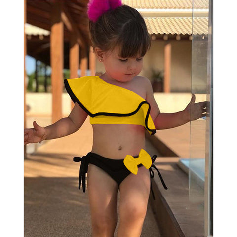 Summer Baby Girls Bikini Set Two Pieces Swimsuit  Family Matching Mother Swimwear Beach Ruffle Bow Costume Bathing Suit
