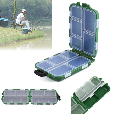 Waterproof Storage Box Case With10 Compartments 9.5x6x2.5cm green Portable fishing box