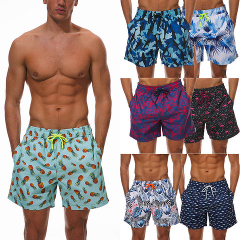 Boys Mens Board Printed Swim Shorts Males Casual Loose Trunks Beachwear Summer Bathing Suit Holiday Briefs