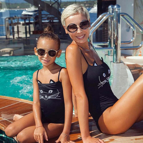 Summer Mommy And Me Baby Girl One Piece Cartoon Print Black Bikini New Swimwear Swimsuit Bathing Suit Beachwear Daughter