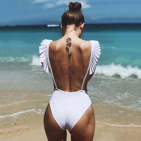 Backless Strap Female Swim Body Sexy Bodysuit Rompers Womens 2019 White Bodysuits Brazilian Summer Bathing Suits
