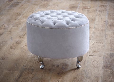 Chesterfield Upholstered Round Footstool - Ambassador Beds