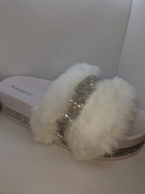 Rhinestone embellished faux fur slides