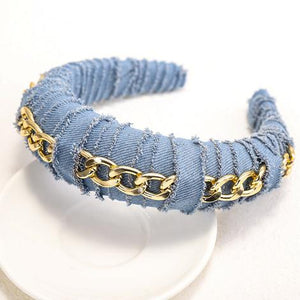 Denim Distressed Headband