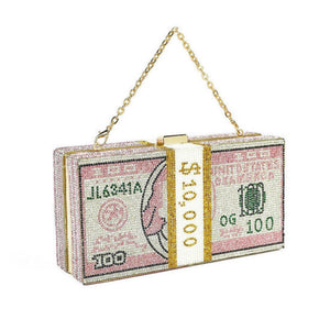 10k Rhinestone Money Bag Clutch