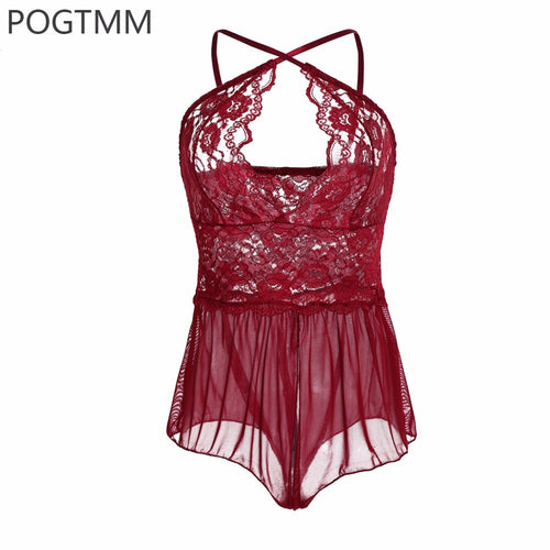Sexy Transparent Mini Bodysuit Floral Lace Teddies Women Lingerie Erotic Sex Costumes Porn Apparel Baby Doll Intimates Clothing