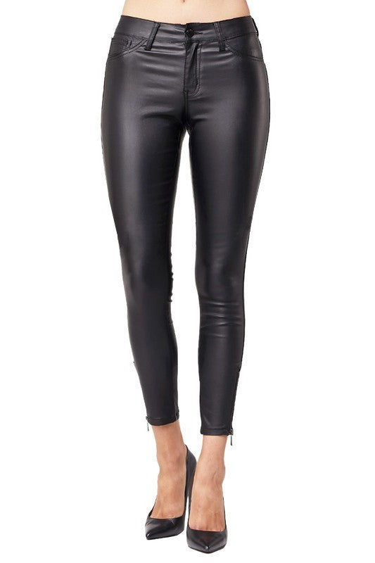 Leather Skinny Pants with ankle zipper