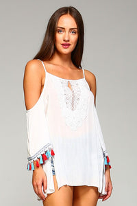 Bohemian Tassel Trim Cold Shoulder Top