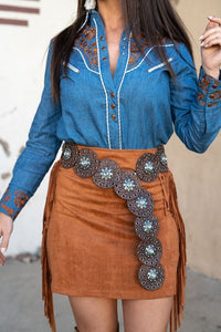 L & B Brown Tooled Belt with Silver Stone Detail