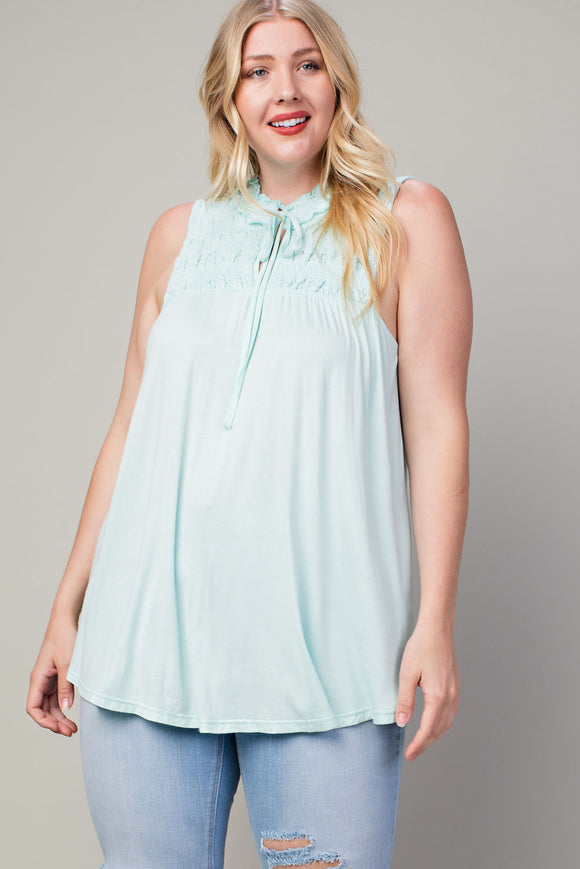 Plus Size Smocked High-Low Top