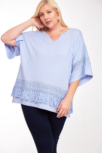 Plus Size Bat Wing Knit Top with Fringe Detail