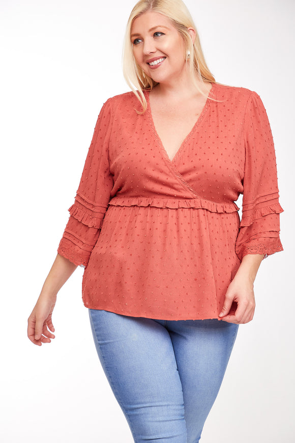 Plus Size Textured Ruffle Detail Top