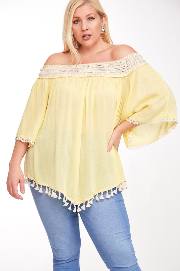 Plus Size Off Shoulder Gauze Tunic Top