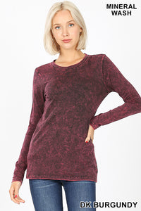 Mineral Washed Round Neck Top