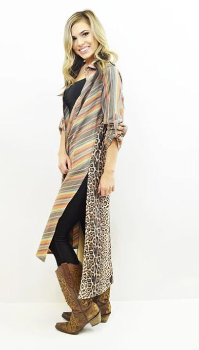 Contrast Back Long Duster