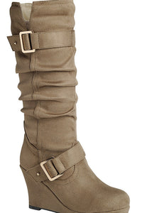 Casual Wrinkle Wedge Boots