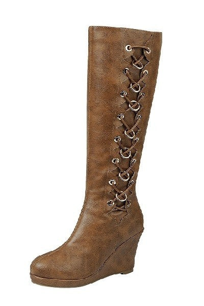 Side Lace Up Casual Wedge Boots