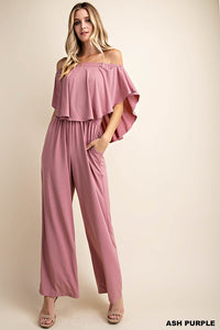 Off Shoulder Rounded Ruffle Jumpsuit