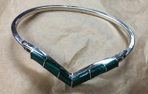 Silver V-Shaped Bangle Bracelet with Malachite