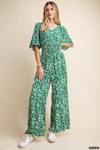 Short Sleeve Waist Smocking Jumpsuit