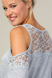 Cold Shoulder Lace Mix Top