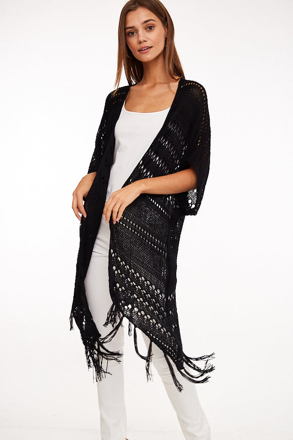 Open Front Cardigan with Fringe Detail