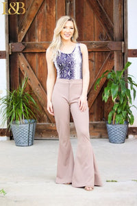 Button Front Flare Pant by L&B
