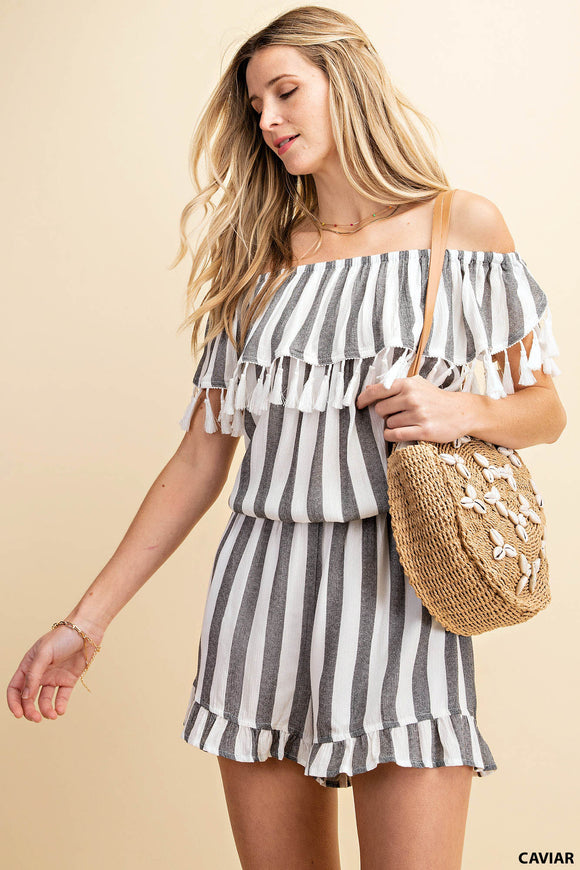 Striped Ruffle Romper with Tassel Detail
